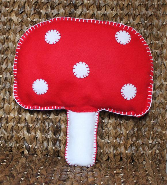 Mushroom Toadstool Cushion Red and White Handmade Cute Felt