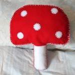 Mushroom Toadstool Cushion Red and ..