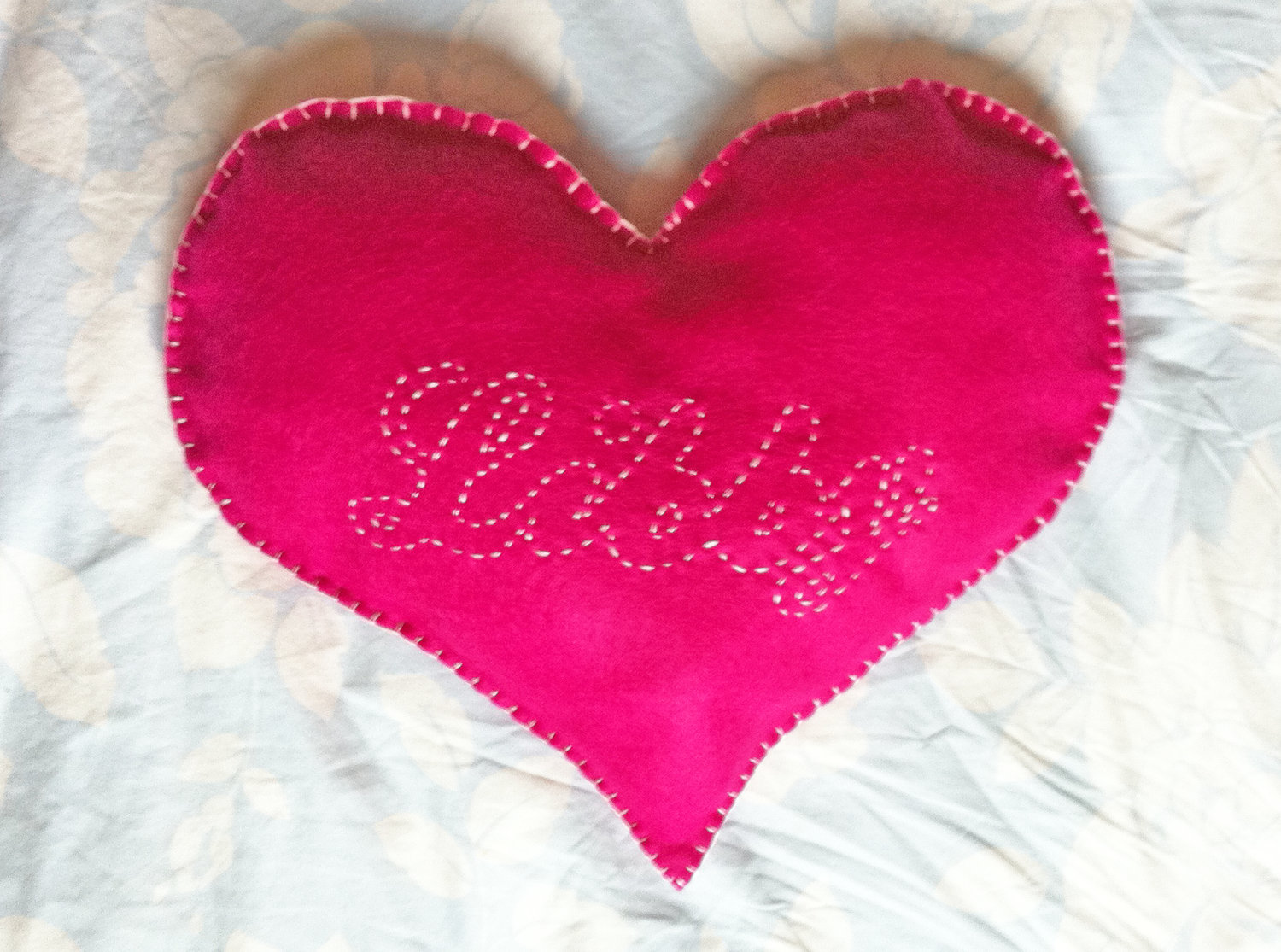Heart Cushion Personalised Little Girl Cute Hand Stitched Name Red ...